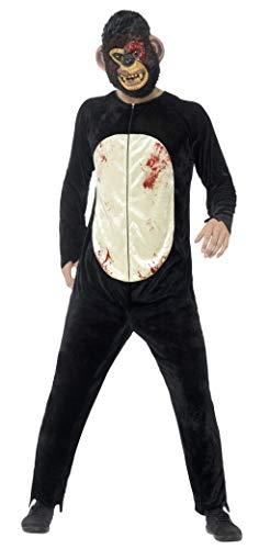 Smiffys Unisex Deluxe Zombie Schimpansen Kostüm, Bodysuit und Maske, Größe: L, 45270