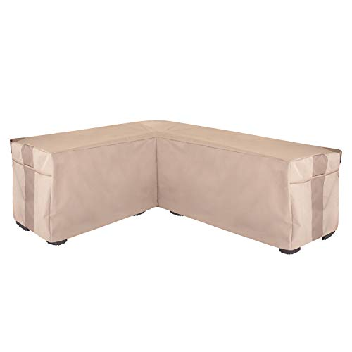 Modern Leisure 2947 Monterey Patio Furniture Sectional (Left), Outdoor Cover Waterproof, Khaki/Fossil -