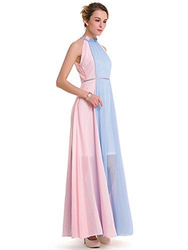 CLOCOLOR A Line Robe longue pour Femme Rose et Bleu Col Rond Sans Manches Couleur Bloc Rose