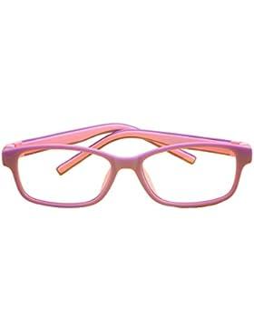 Hibote Gafas para niños - Silicona - Profesional Gafas de lentes transparentes marco Geek/Nerd gafas con forma...