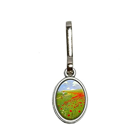 Field of Poppies - Pal Szinyei Merse Antiqued Oval Charm Clothes Purse Luggage Backpack Zipper Pull