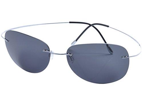 DEDING Herren Titan Randlose polarisierte Sonnenbrillen (graue Linsen)