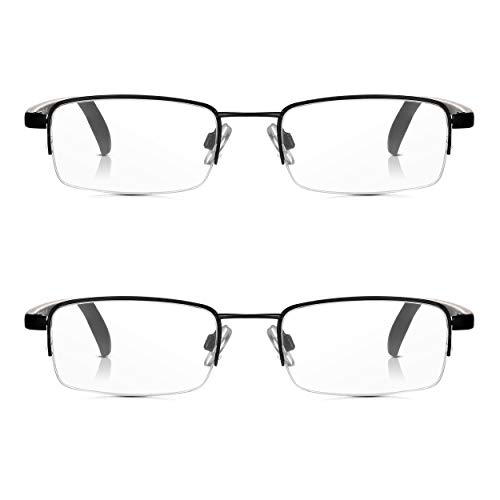 2 Paare Read Optics Halbrahmen-Lesebrille: Vintage Black Semi-Randlos Ready Lesegeräte 1.5 (oder +1 bis +3.5). Optisch hochwertige rechteckige klare Brillen mit leichtem, haltbarem Edelstahl