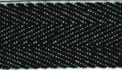 Herringbone Webbing (Black and White). 10m roll