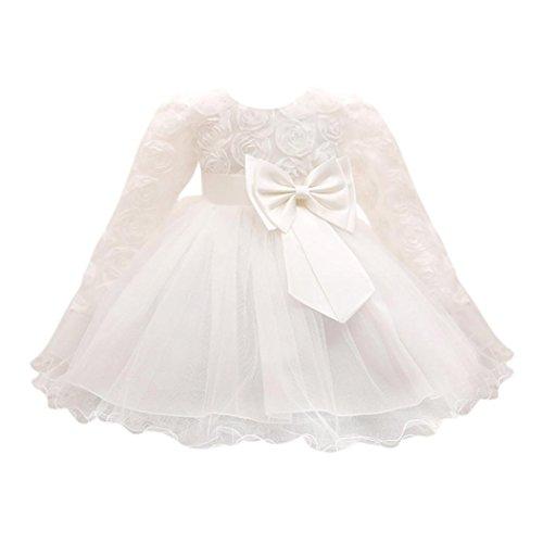 Huhu833 Baby Kleid Blume Baby Mädchen Prinzessin Kleid Brautjungfer Pageant Kleid Geburtstag Party Brautkleid (Weiß, 12M-80CM)