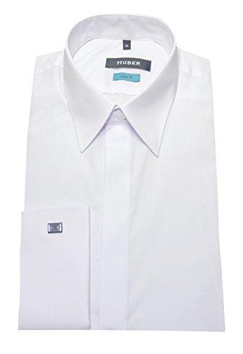 Umschlag Manschetten Hemd weiß bügelleicht HUBER 0361 Slim Fit / Tailliert S bis XXL Weiß