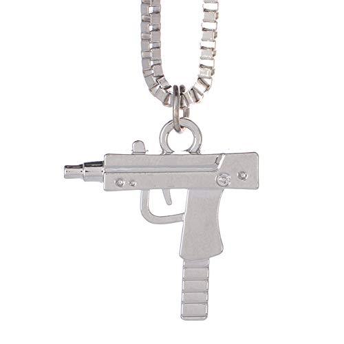 ban Kette Bad Girl gleiche Art Legierungs-hängende Halskette Strass-Gewehr-Muster-Halskette Männer Silber ()