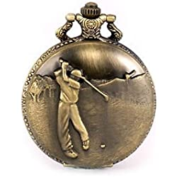 Golfer Golf Swing Bronze Pocket Watch with Chain