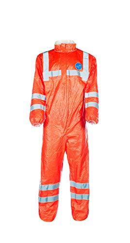 DuPont Tyvek 500 HV | Chemikalienschutzkleidung mit Kragen, Kategorie III, Typ 5-B und 6-B | Fluoreszierendes Orange mit grauen reflektierendenstreifen | Größe XXL -