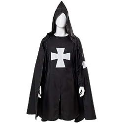 tianxinxishop Disfraz de Caballero con Capucha Medieval Capa Tunica con Cruzar Negro