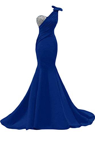 Sunvary Liebling Ein-Schulter Abendkleider Lang Satin Cocktailkleider Brautjungfernkleider Partykleider Royalblau