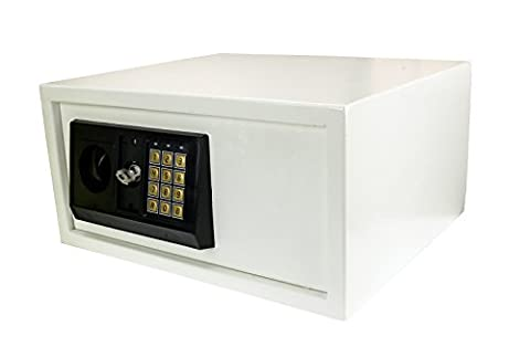 Large 28L Steel Safe w/ Electronic Lock Digital Security Money Guns Safe Box for Hotels, Homes & Retail Stores in White Finnish