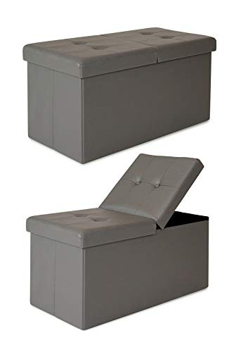 dibea SO00471, Sitzhocker mit Klappdeckel, 76 x 38 x 38 cm, Bezug Kunstleder grau