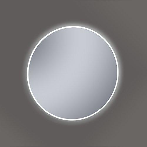 Kristaled Saser Led 60 cm ø Espejo de Baño con Luz, Cristal, Plateado, 60x60x2.5 cm