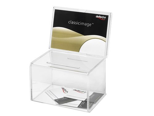 Deflect-o Classicimage Suggestion/Coin Box with 152x102mm Sign Holder - Transparent Test
