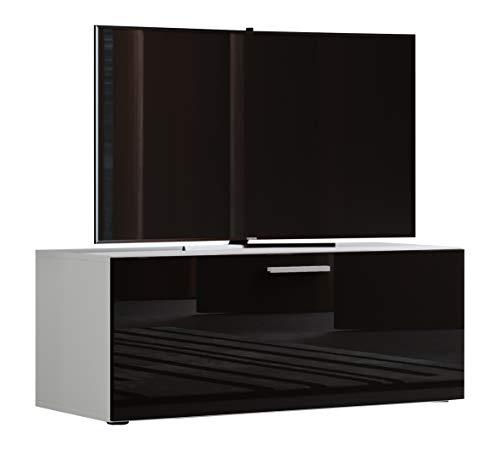 VCM Winalo 95 Meuble TV Bois, Blanc/Noir, 40 x 95 x 36 cm