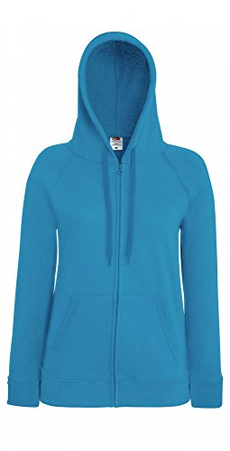 Fruit of the Loom Damen Kapuzenpullover Lightweight Hooded Sweat Jacket Lady-Fit Azure Blue