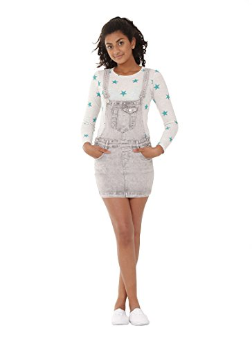 Jovial Jeans Grey Wash Denim Dungaree Dress 8-16 Years Girl & Teen Bib Overall Skirt IZZIEGREYWASH
