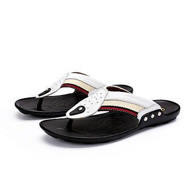 Slippers & amp da uomo;Luce Estate Soles pelle bovina casuale Heel Flat White Nero Marrone Blu Sanda sandali US10.5 / EU43 / UK9.5 / CN45