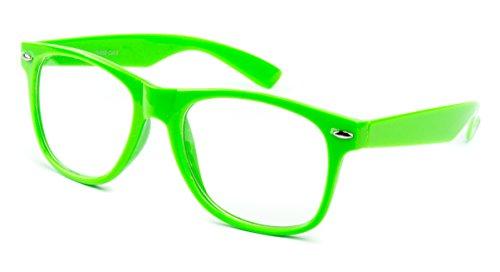 Nerdbrille Sonnenbrille Stil Brille Pilotenbrille Vintage Look Neon Grün Klar Glas KG5