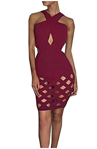 EKU Women's Slim Fit Shoulder Off Hollow Out Mini Bodycon