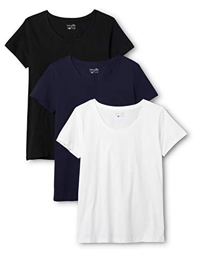 Berydale Damen T-Shirt für Sport & Freizeit, Rundhalsausschnitt, 3er Pack, Mehrfarbig (Schwarz/Weiß/Navy), X-Large
