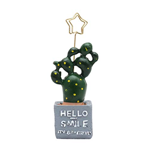 Amosfun Kaktus Töpfe Fotohalter Fotoständer Platzkartenhalter Memohalter Tischaufsteller Memo Clip Foto Clip Halter für Hochzeit Tischdeko Geburtstag Party Deko(Hello)