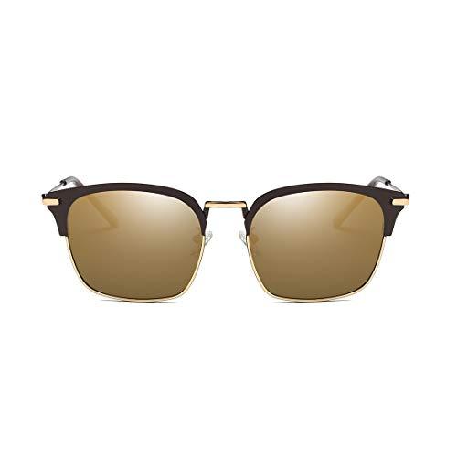 Honneury Retro Klassische Sonnenbrille für Frauen und Männer Metall Halbrahmen UV-Schutz Sonnenbrillen (Farbe : Black Fram/Gold Lens)