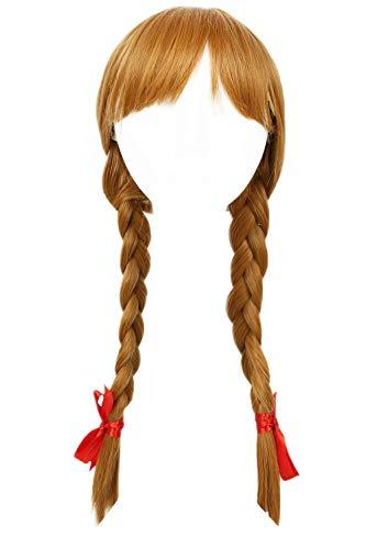Mesky Annabelle Perücke Cosplay Blond Perücke Damen Wig mit Zöpfen Annabelle Halloween Perücken Pferdeschwanz Langhaar Golden Leicht Bequem Atmungsaktiv Stabil mit kostenlosem Haarnetz