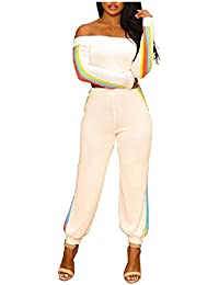 90b837cea67ed8 FuweiEncore Frauen Casual 2 Stück aus der Schulter Langarm Crop Top Lange  Hosen (Farbe :