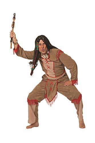 Indianer-Kostüm Herren Hell-braun Oberteil mit Lendenschurz und Hose Adler Falke Apache Karneval Fasching Hochwertige Verkleidung Größe 60 Braun