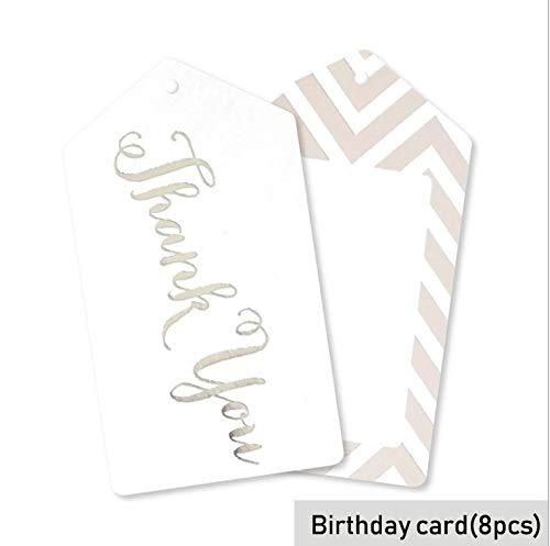 Silber Party Striped Party Teller Einweggeschirr Teller Tasse Stroh Geschenkbeutel Baby Shower Decor Kinder Geburtstag Hochzeit Supplie, Geburtstagskarte 8 Stücke