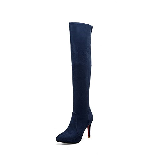 AgooLar Femme Pointu Stylet Dépolissement Haut Élevé Couleur Unie Bottes Bleu