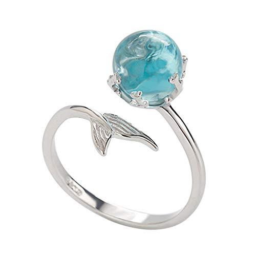 Lumanuby 1x Magisch Meerjungfrau Offen Ring Damen Delicate Blau Kristall Ball Ring Verstellbar für das tägliche Tragen und die Party Silber Farbe, Ringe Serie - Diamond Frau Ring Wedding