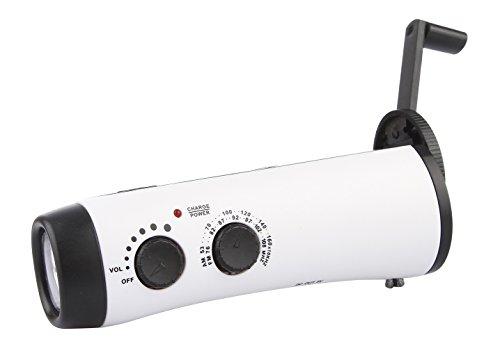 GEMVIE Lampe de Poche 5-LED Lampe Torche Manivelle Poste de Radio Alarme d'urgence Dynamo (Blanc)