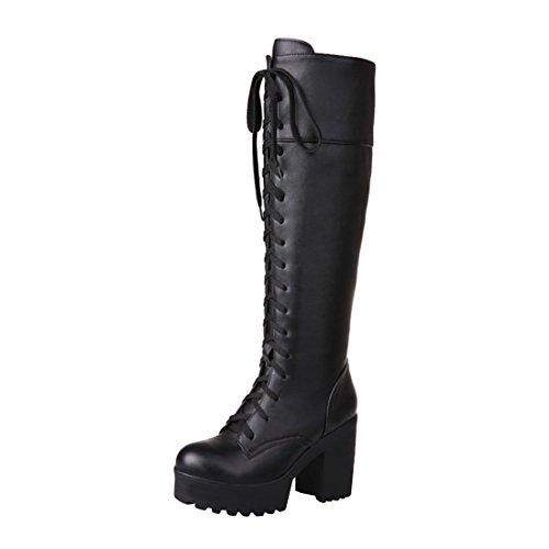 Agodor Damen Blockabsatz High Heels Plateau Langschaftstiefel mit Reißverschluss und Schnürung Moderne Halb Stiefel Winter Schuhe