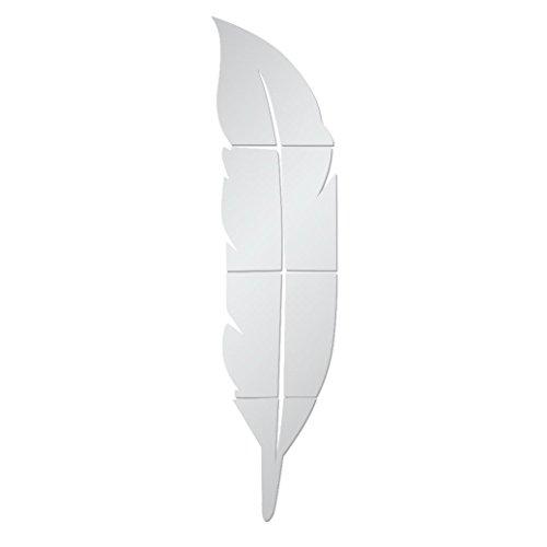 Feixiang® piuma specchio fai da te stickers murali arredamento casa decorazioni a parete cameretta adesivi e murali da parete carta da parati decorazione murale sticker da muro (argento)