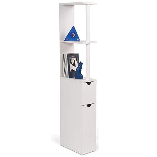 IDMarket - Meuble WC étagère bois gain de place pour toilette 2 portes blanches