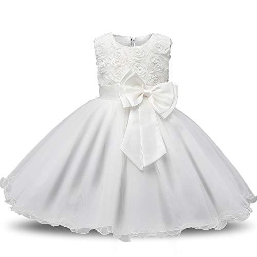 KOKOUK Kids Girls Xmas Party Dress Flower Formal Wedding Bridesmaid Princess Dresses (White) -