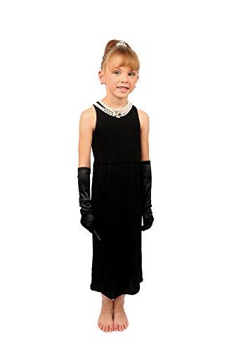 Mini Audrey Hepburn-die Mädchen Größe Frühstück bei Tiffany's Complete Kostüm Set Kleid und Zubehör (S, ohne Geschenk-Box)