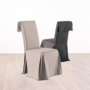 housse de chaise hauteur ajustable 100 coton coloris lin cuisine maison. Black Bedroom Furniture Sets. Home Design Ideas