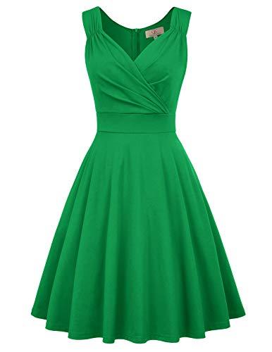 grün Kleid Damen Festliche Kleid elegant Knielang Partykleider a Linie Swing Kleid CL698-4 2XL