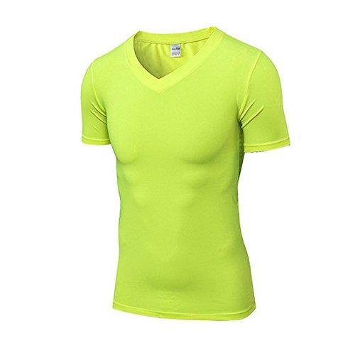 wenyujh Herren Funktionsshirt Sport T Shirt Trikot Unterhemd Kurzarm V-Ausschnitt (Neon Grün, EU M (Tag L)) -