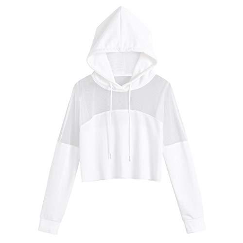 Sweatshirt Damen Kapuzenpullover Mesh Spleiß Shirt Plus Größe Boho Hoodies Frauen Solid Bluse...