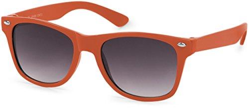 styleBREAKER Kinder Sonnenbrille, klassiches Retro, Nerd Design 09020056, Farbe:Gestell Orange/Glas Grau Verlauf