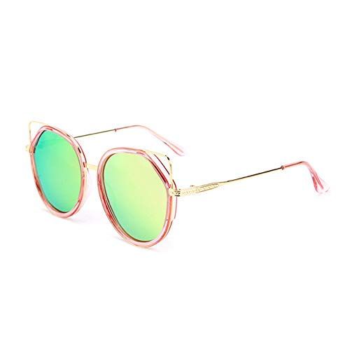HQMGLASSES Retro Cat Eye Sonnenbrillen Vintage Square Shade Frauen Cute Skinny Cat Eye Brillen,GoldFrame/PinkLens
