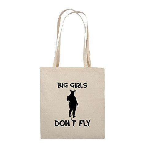Comedy Bags - BIG GIRLS DON'T FLY - Jutebeutel - lange Henkel - 38x42cm - Farbe: Schwarz / Pink Natural / Schwarz