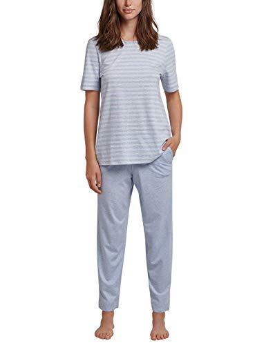 Schiesser Damen Anzug 7/8, 1/2 Arm Zweiteiliger Schlafanzug, Blau (Hellblau 805), 50 (Herstellergröße: 050)