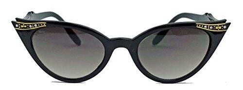 50er Jahre Damen Sonnenbrille Cat Eye Rockabilly Strass Modell Glitzersteine KK VR (Schwarz)