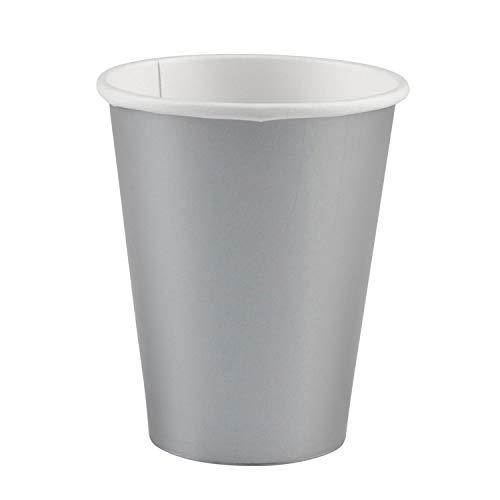 amscan 8 Papierbecher, 266 ml, Papier, Silber, 9 oz, 12